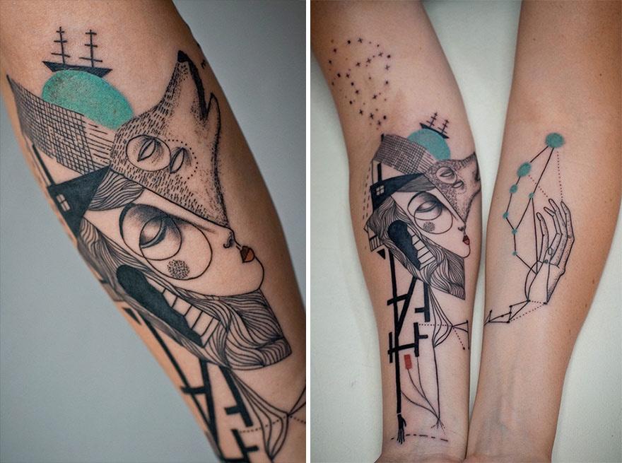 Duet Artystów Tworzy Kubistyczne Tatuaże Bazując Na