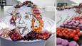 Artystki z Litwy tworzą wielkoformatowe portrety na bazie słodyczy i owoców.