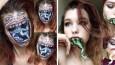 19-letnia artystka z Litwy przemienia się w postacie z horrorów przy pomocy makijażu.