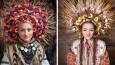 13 współczesnych Ukrainek w tradycyjnych, bogato zdobionych wiankach.