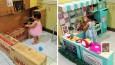 Kochająca mama stworzyła dla swojej córeczki miniaturową kuchnię z kartonowych pudełek.